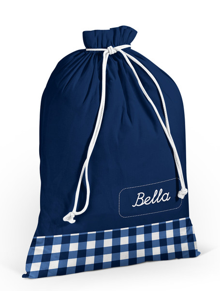 Laundry Bag- Navy Gingham