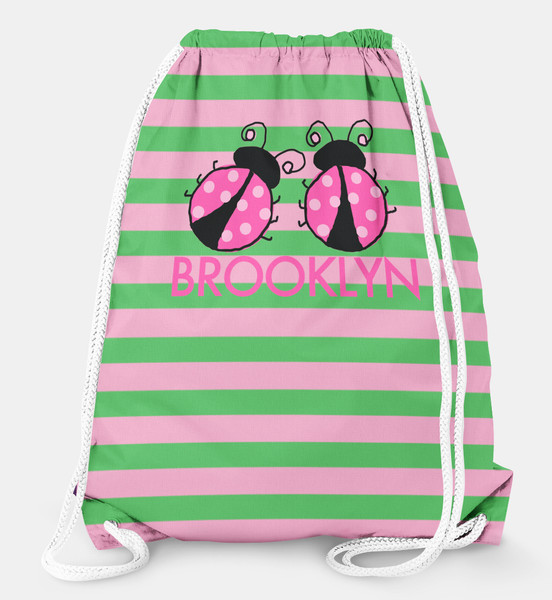 Drawstring Backpack- Ladybugs Pink and Green Stripe