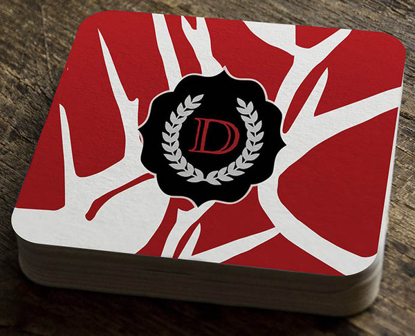 Paper Coaster - Abstract Deer Red