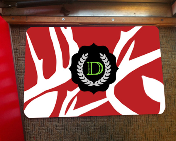 Doormat - Abstract Deer Red