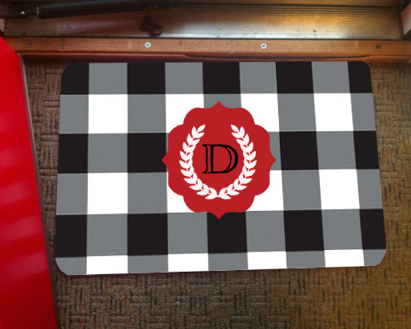 Doormat - Buffalo Plaid Black and White
