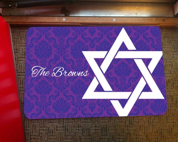 Doormat - Hanukkah Star of David Damask