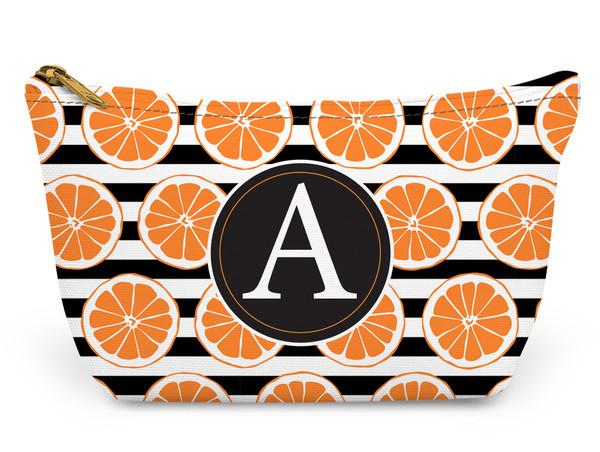 Accessory Zip T-Tote- Orange Stripes