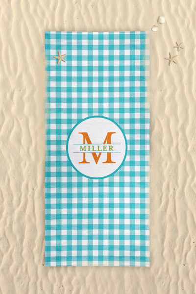 Beach Towel-Turquoise Gingham