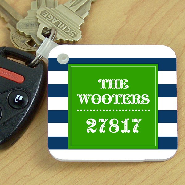 Key Chain- Navy Stripes Zip