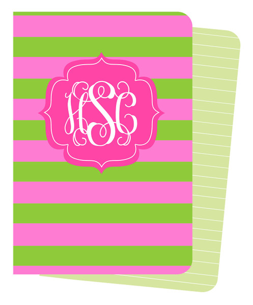 Mini Journals - Pink and Green Rugby Stripes