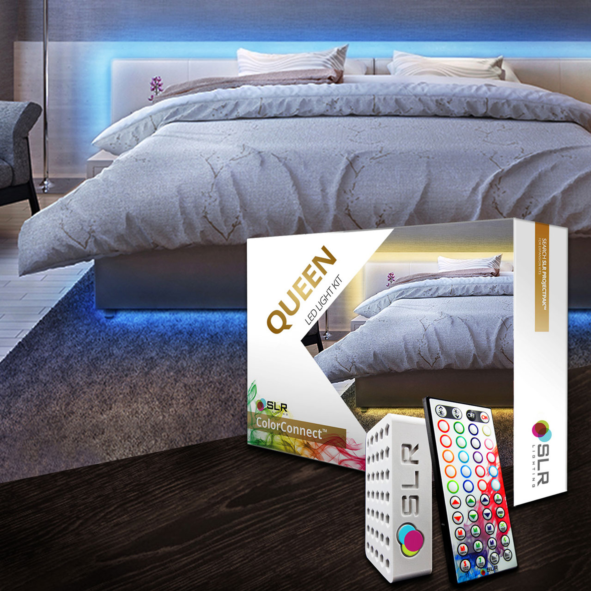 Bed Lighting Kit - Multi-Color LED Accent Lights For Under Bed & Headboards