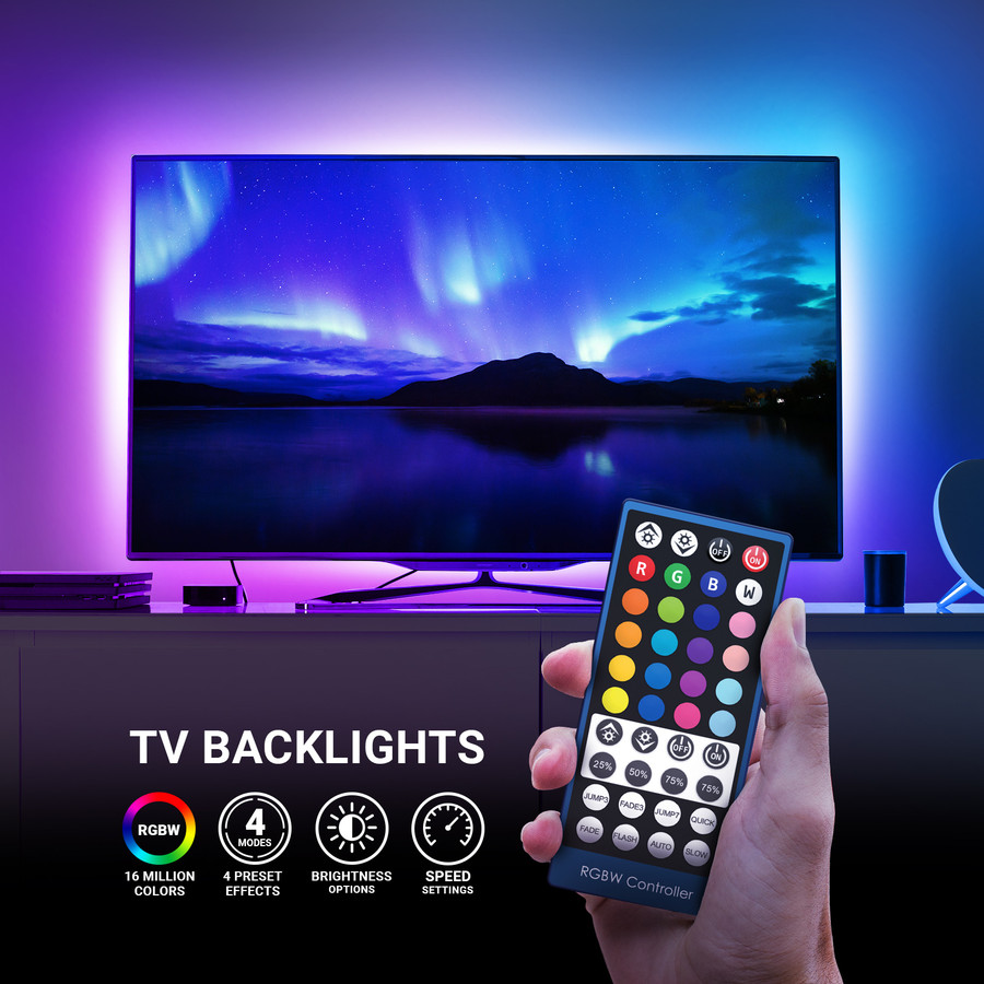 USB TV Backlight, Multi-Color LED Light Strips for TV with Wireless Remote