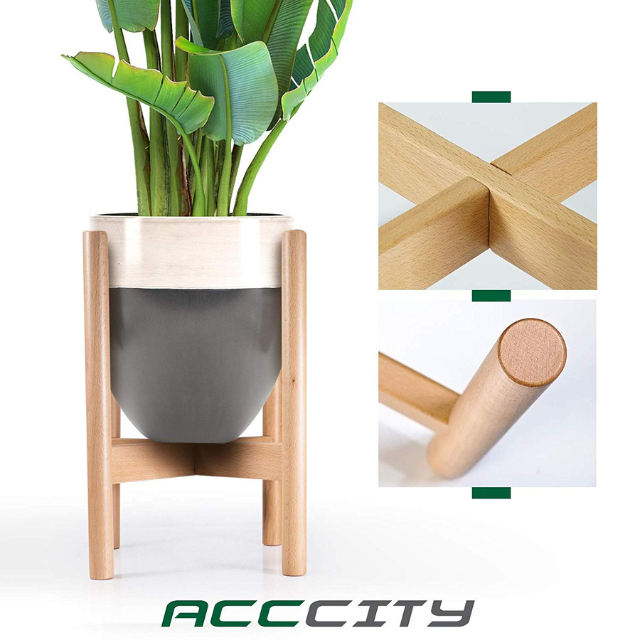 AccCity Up to 10 Inch Planter Plant Stand Display Wood Flower Pot Mid Century Holder Potted Rack Rustic Décor (Plant NOT Included)