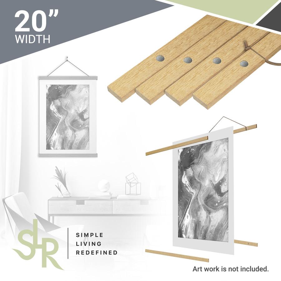 SLR Magnetic Poster Hanger, Poster Frame Wood Wooden Magnet Print Posters Dowel Scroll Hanger Hangers Hanging Kit for Walls Map Canvas Artwork