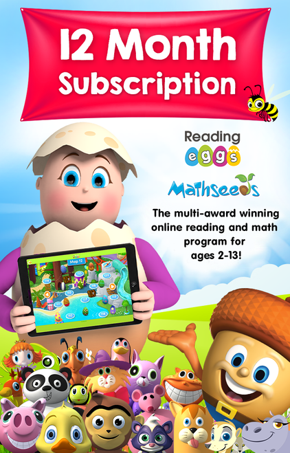 12 Month Combined Subscription (Reading Eggs + Mathseeds)