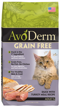 AvoDerm Natural Duck with Turkey Meal Adult Cat Dry Food  (5 lb Bag)