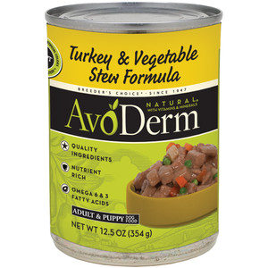 AvoDerm Grain Free Turkey & Vegetable Stew Recipe (12.5 OZ Can)