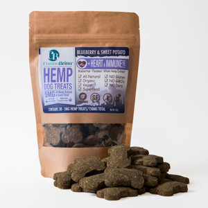 CannaBrina Hemp Heart & Immune Dog Treats - 150mg CBD (5mg/treat, 30 count) - antioxidant boost