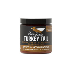 "DESCRIPTION Turkey Tail Medicinal Mushrooms 75g Jar w/ Scoop 75 Servings for a 25lb Dog! 150g Jar w/ Scoop 75 Servings for a 50lb Dog!   Veterinary Approved. Supports your Pet's Immune and Cell Function Promotes Healthy Immune and Cell Function Supports Healthy Inflammatory Response & Detoxification Helps Fight Infection by Improving Baseline Immunity ALL SUPER SNOUTS SHROOMS ARE ORGANICALLY GROWN IN THE PACIFIC NORTHWESTERN UNITED STATES. Medicinal Mushrooms promote healthy immune and cell function. They are natural ""immuno-modulators"", which means that they are able to go into the body and adjust the immune system either up or down depending on the condition or issue. Turkey Tail Supports a healthy inflammatory response and detoxification process in the body. Turkey Tail contains bioactive compounds that have the ability to neutralize toxins, promote protective enzymes and decrease oxidative stress, which is responsible for accelerated aging of the body. Turkey Tail is dense in molecules known as Beta-glucans. Beta-glucans are known for immune system support and re-building connective tissue to promote healthy joints. Some of the many known benefits of Medicinal Mushrooms: inflammation fatigue frequent infections (urinary tract, respiratory infections, etc.) liver disease food allergies and asthma digestive problems, stomach ulcers and leaky gut syndrome tumor growth and cancer skin disorders autoimmune disorders diabetes heart disease, hypertension sleep disorders and insomnia anxiety and depression Suggested Daily Amount: Double the dose for the first 10 days as a ""loading phase"" to increase initial absorption. Amount Give one heaping scoop per 25 lbs of body weight daily. Note: Always consult a licensed Veterinarian before feeding any supplemental products."