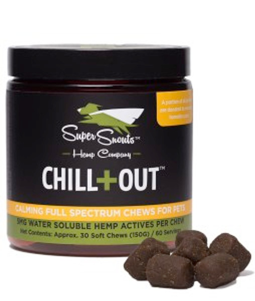 Super Snouts Hemp Chill-Out/Calming Pet Chews - 150mg CBD (5mg/chew, 30-count) or 300mg  (5mg/chew, 60-count) - Relieve, Remedy, Relax