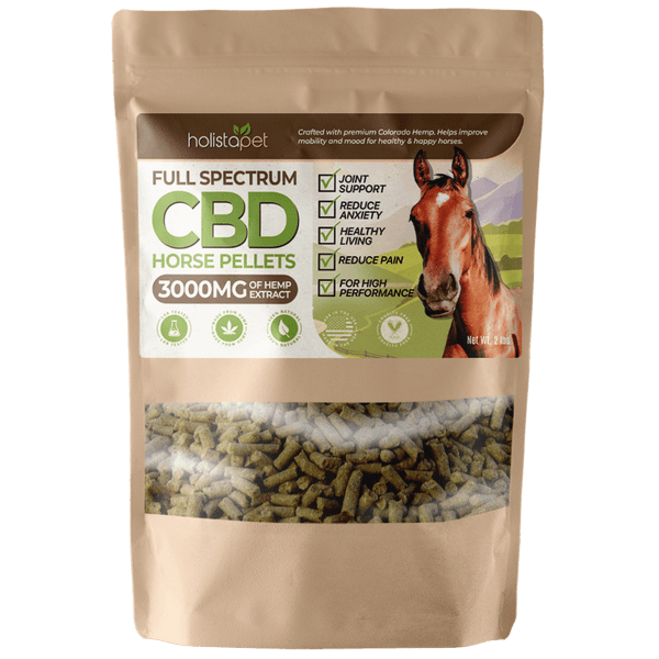 HolistaPet CBD Horse Pellets are crafted using full-spectrum CBD rich hemp. Manufactured under the strictest of standards and developed in parallel with the newest research, these hemp pellets are perfect for all horses no matter the size, breed, or class. Loaded with essential nutrients like Omega 3-6-9 fatty acids our pellets are an excellent source for supplemental protein and fiber.  2lbs or 5lbs Full Pounds of CBD Rich Horse Pellets 3000mg or 7500 MG of Full Spectrum CBD Extract Free Shipping on All Orders 3rd party lab tested for potency, quality, and efficacy Rich in Omega 3-6-9 Fatty Acids CBD Extract via Supercritical CO2 extraction process Farm Bill Compliant Hemp – Legal in all 50 States 100% Natural, Organic Ingredients Pesticide Free, Non-GMO, No Additives or Preservatives Made in the U.S.A. NOT AVAILABLE FOR SALE & SHIPMENT IN CALIFORNIA
