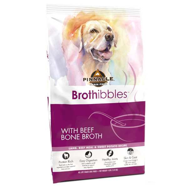 Pinnacle Brothibbles - Grain Free Lamb, Beef Meal & Sweet Potato with Beef Bone Broth Made with Meat + Vegetables and other wholesome ingredients blended with Beef Bone Broth = Pinnacle® Brothibbles TM NO Grains NO Wheat, Corn or Soy No Genetically Engineered Ingredients Available in: 4 lbs