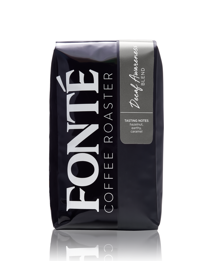 Buy Fonte Decaf Awareness Coffee Blend Available as Whole Bean, French Press, Drip, Melitta, Home Espresso, Commercial Espresso, and Turkish, and Weekly, Biweekly, Monthly or Bimonthly Subscriptions Roasted Only On Mondays and Wednesdays