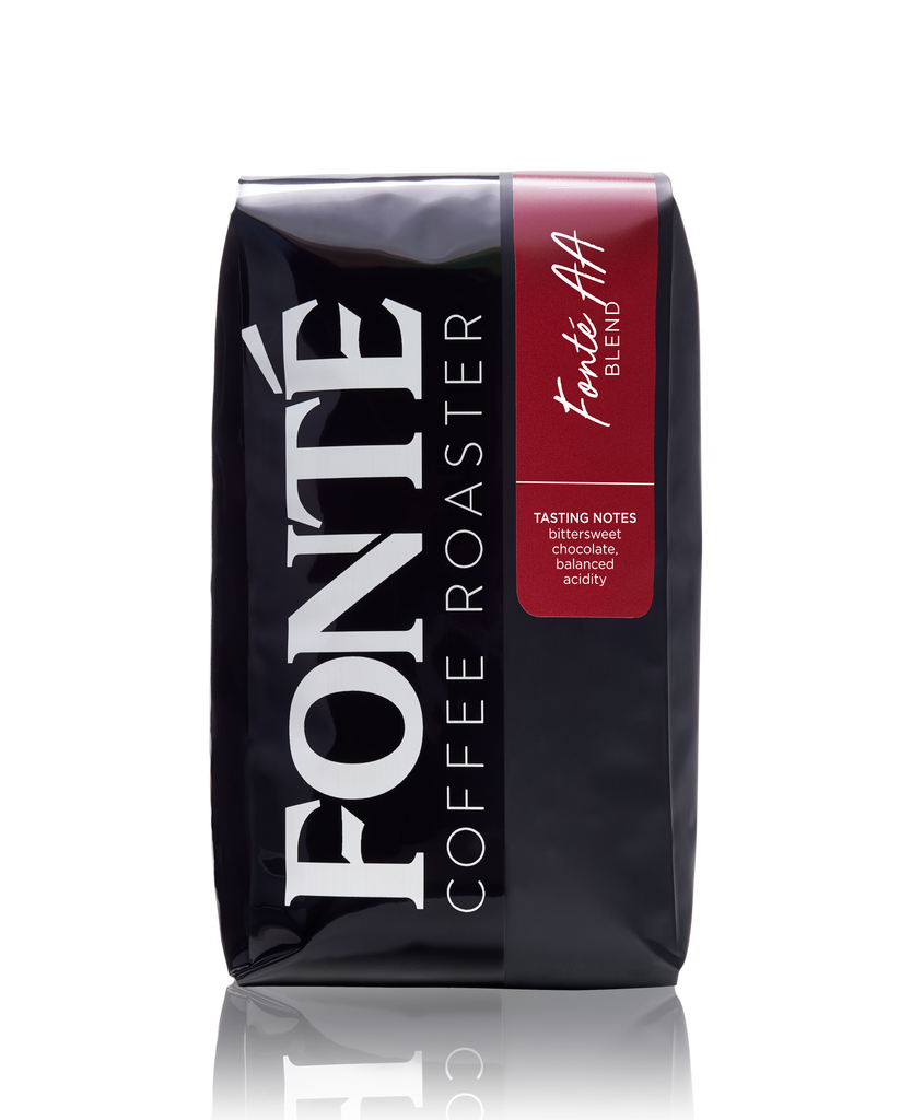 Try Fonte AA Blend Available as Whole Bean, French Press, Drip, Melitta, Home Espresso, Commercial Espresso, and Turkish, and Weekly, Biweekly, Monthly or Bimonthly Subscriptions