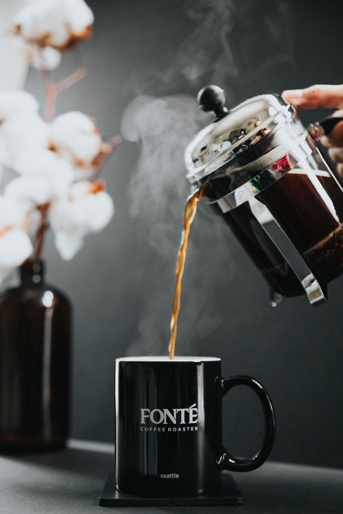 Fonte French Roast Blend Roasty, Smoky, Earthy Tasting Notes From South America Suggested for Drip, and French Press Brew Method