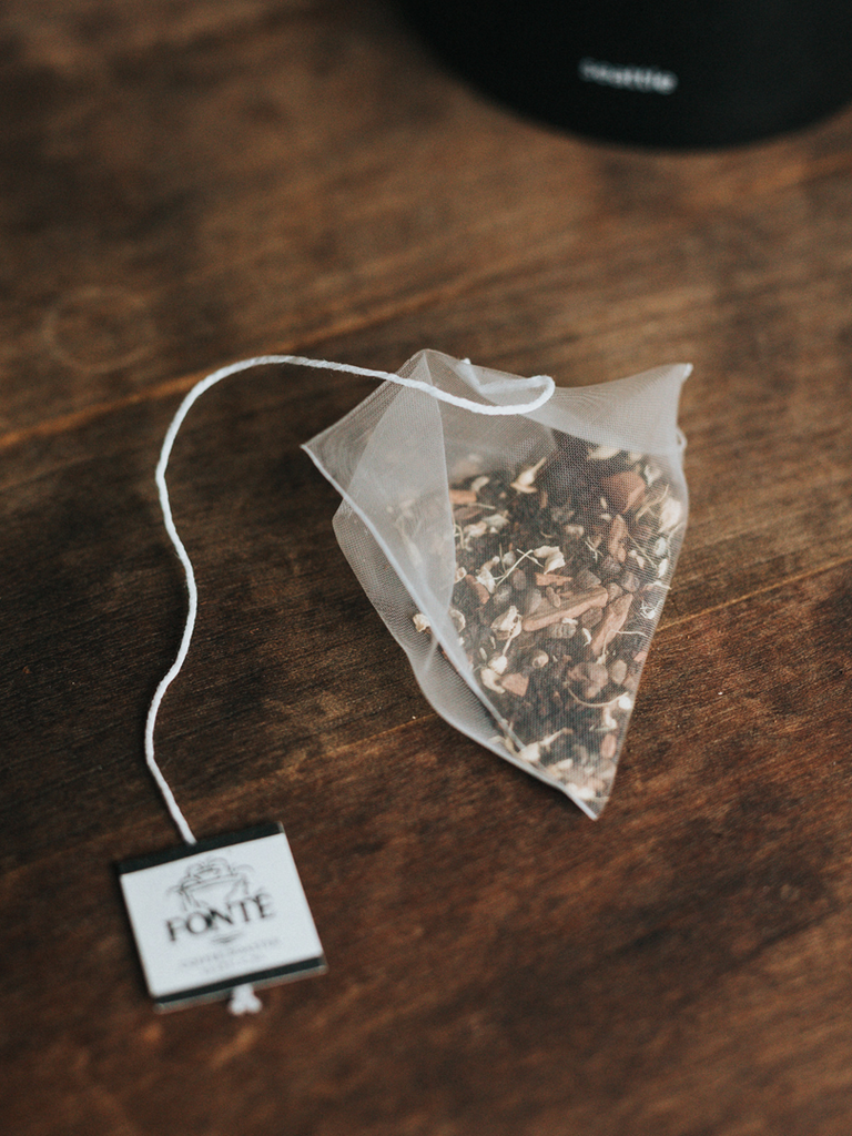 Individually Wrapped Biodegradable Fragrant Chai Spice Black Tea Blended with Herbs and Spices Featuring Cinnamon, Cardamom, Cloves and Pepper.