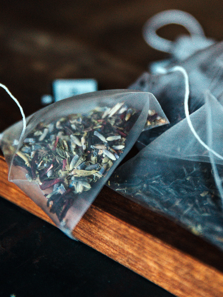 Colorful Caffeine Free Blend of Herbs with Lavender, Cloves, Hibiscus Blossom, and Licorice Root.