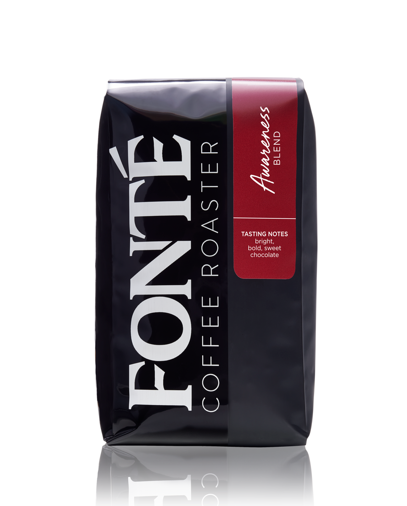 Buy Fonte Awareness Coffee Blend Available as Whole Bean, French Press, Drip, Melitta, Home Espresso, Commercial Espresso, and Turkish, and Weekly, Biweekly, Monthly or Bimonthly Subscriptions Roasted Only On Mondays and Wednesdays