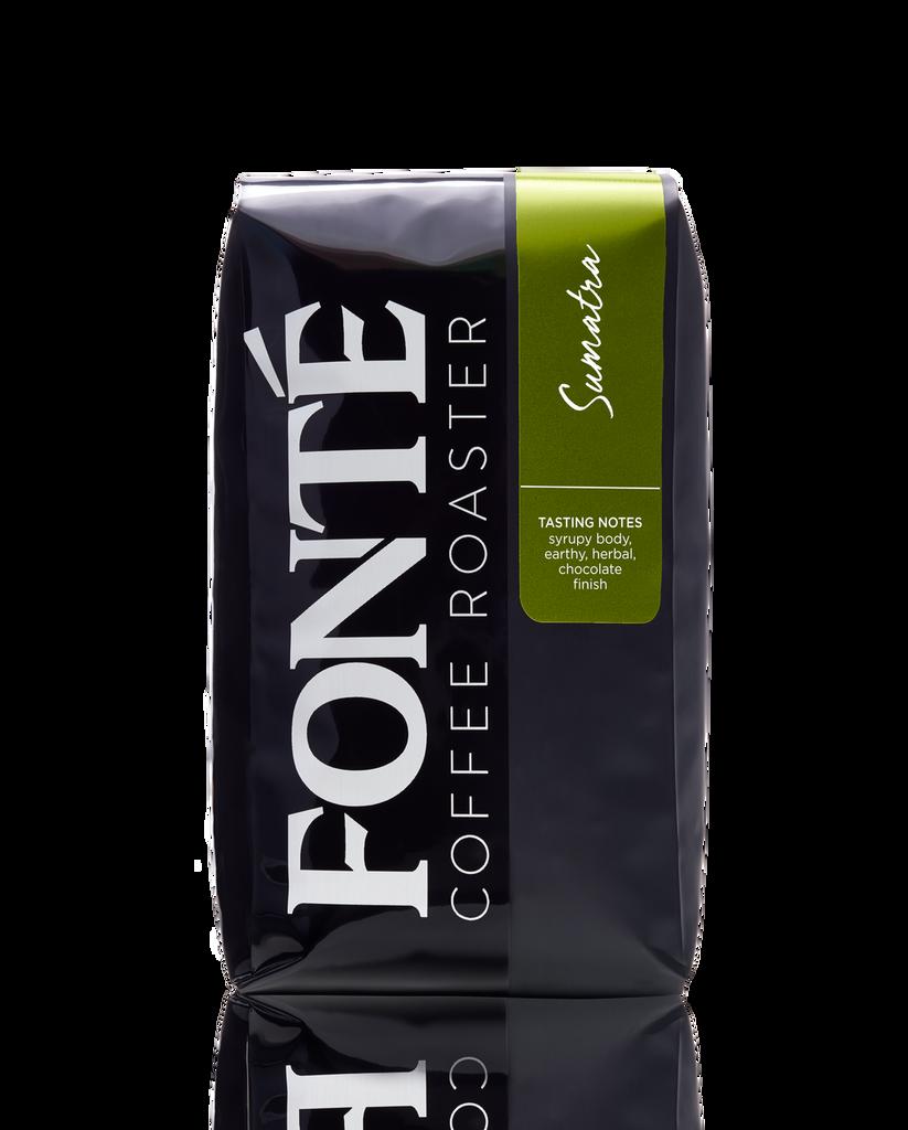Buy Fonte Sumatra Single Origin  Available as Whole Bean, French Press, Drip, Melitta, Home Espresso, Commercial Espresso, and Turkish Coffee