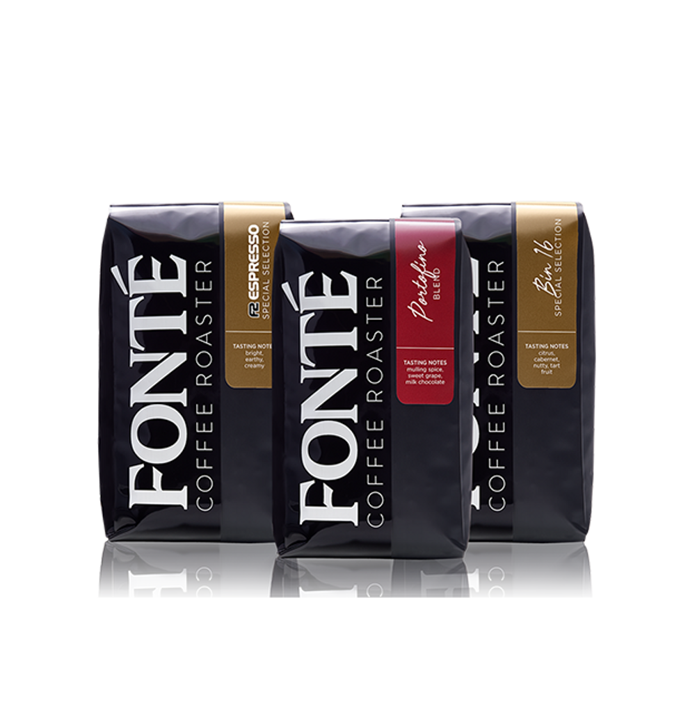 Buy Gourmet Gift Trio With F2 Top Seller, Tastes Bright, Creamy Smooth, with an Earthy Finish, Portifino Herbal, Nutty, with a Dark chocolate finish, Bin16 Highest Rated and House Favorite, Citrus, Cabernet, with a Nutty finish This is a Perfect Gift for Anyone that Loves Quality Coffee!