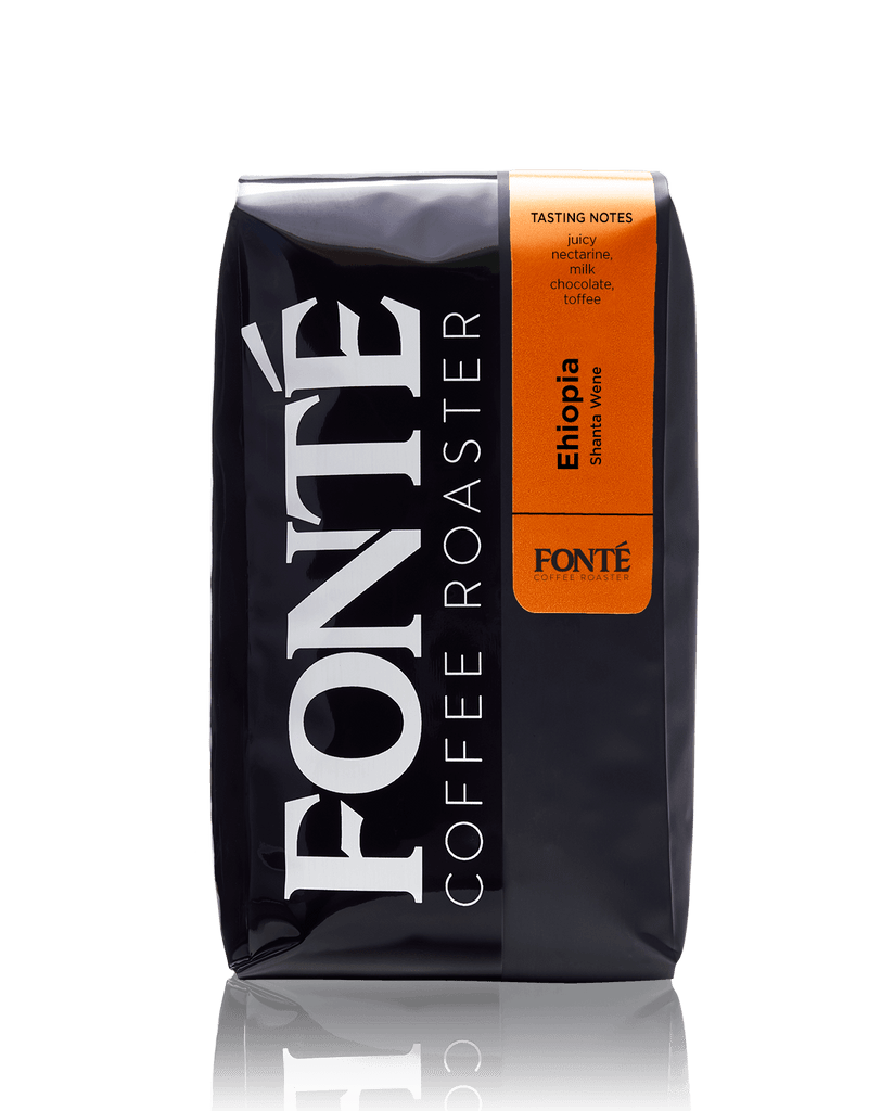 Ethiopia Natural Shanta Wene, Fonte Coffee Roaster, Single Origin, Special Selection, Juicy Nectarine, Milk Chocolate, Toffee