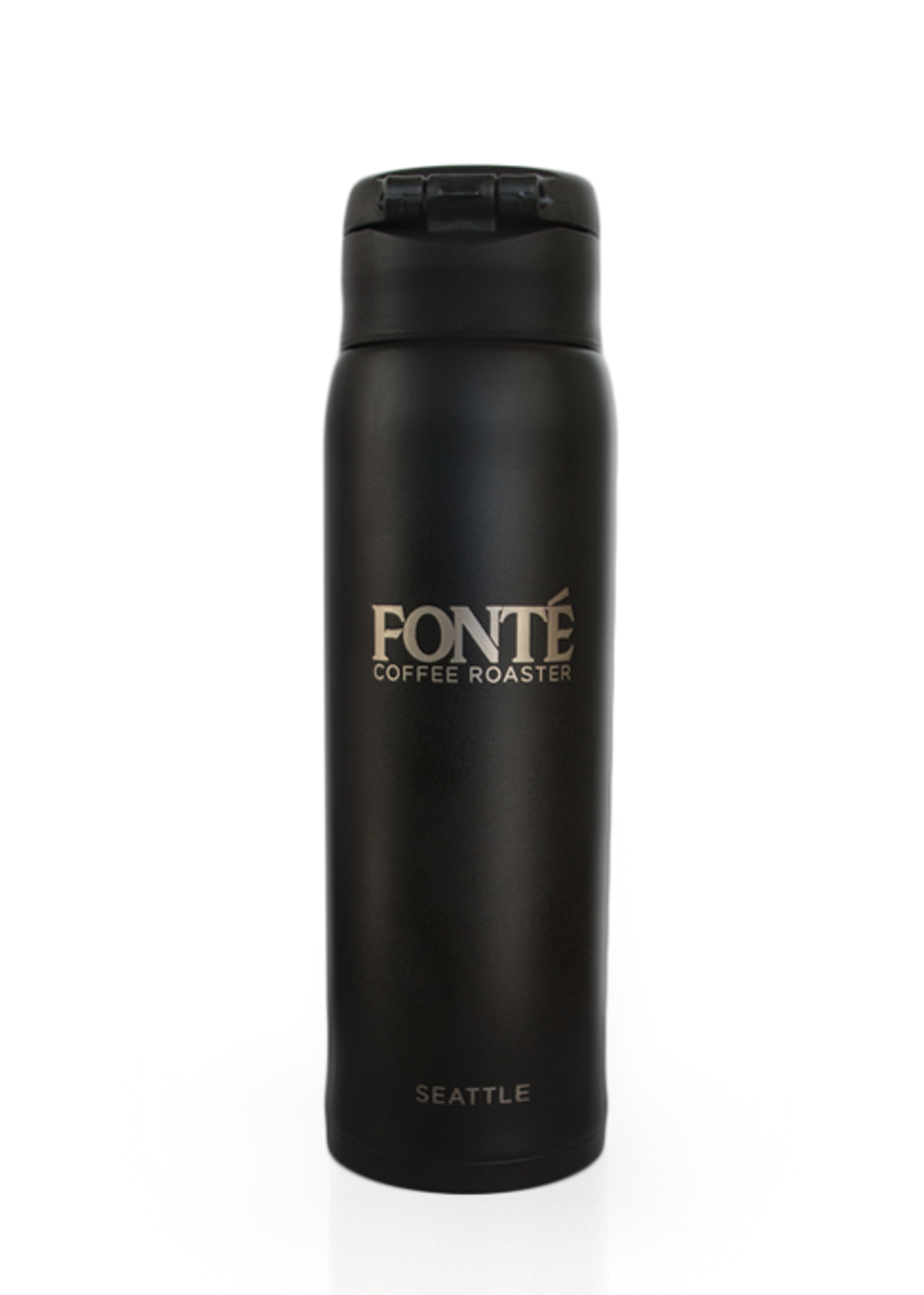 Black Fonte Logo Vacuum Insulated Stainless Steel 16 oz Thermos