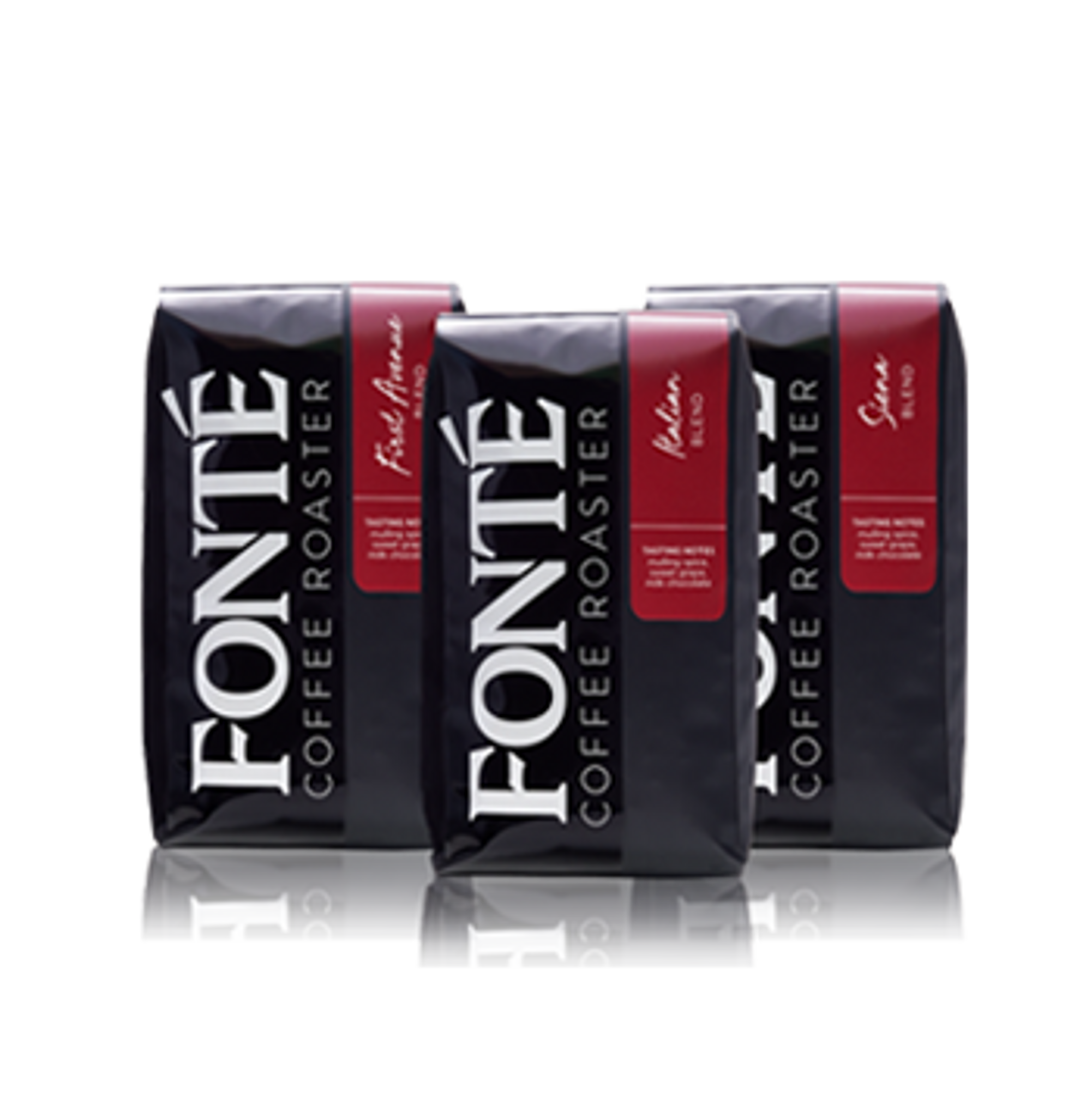 Each Gift Trio Box Contains 3 of Fonte's Best-Selling Coffee Blends in 12oz. bags! First Ave, Bright Lemon, Earthy Tobacco, Bittersweet Chocolate, Italian, Top Seller, Earthy, Spicy, and Berry,Siena, Dry, Sweet Citrus, Smoky Caramel Tasting Notes