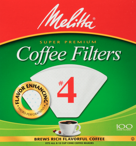 Melitta Cone Coffee Filters, White, No. 4, 100-Count, Flavor Enhancing