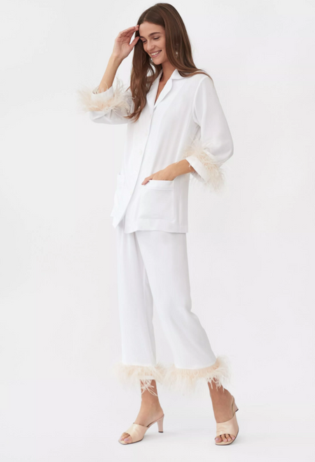 Party Pajama Set with Feathers in White