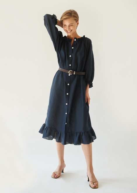 Sleeper Navy Linen Loungewear Dress