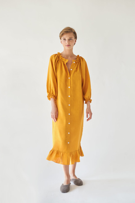 Sleeper Dijon Orange Linen Lougewear Dress