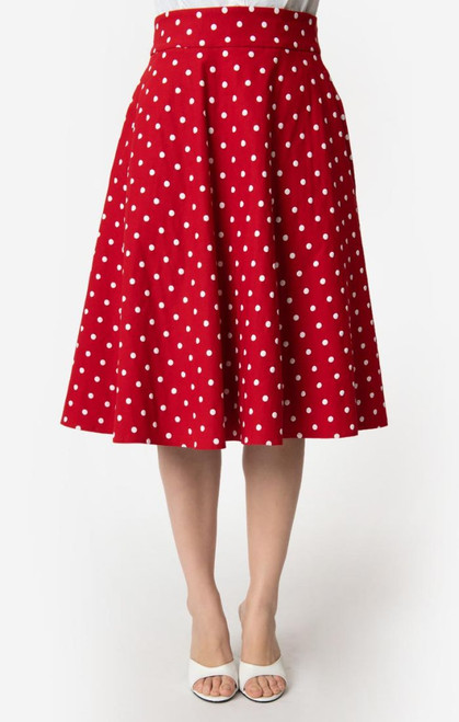 Red and White Dot Unique Vintage Skirt