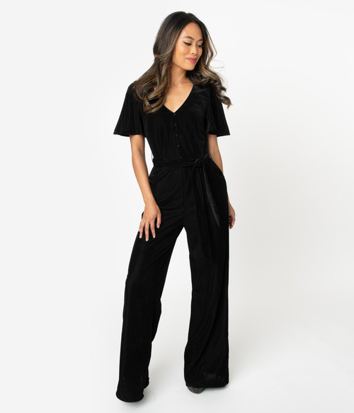Black Velvet Unique Vintage Jumpsuit