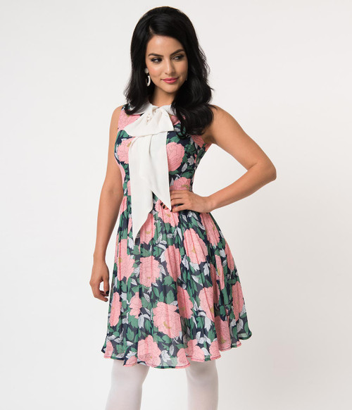 Pink and Green Floral Unique Vintage Dress