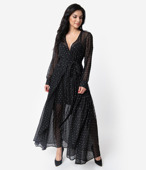 Black and Silver Unique Vintage Maxi Dress