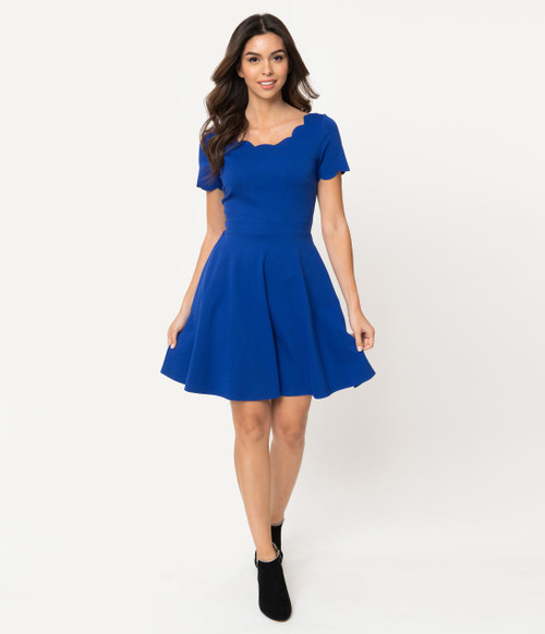 Royal Blue Scalloped Dress