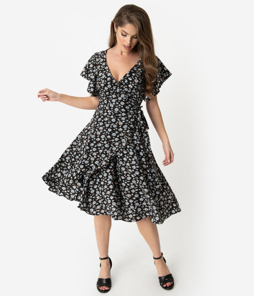 Black and White Print Unique Vintage Wrap Dress