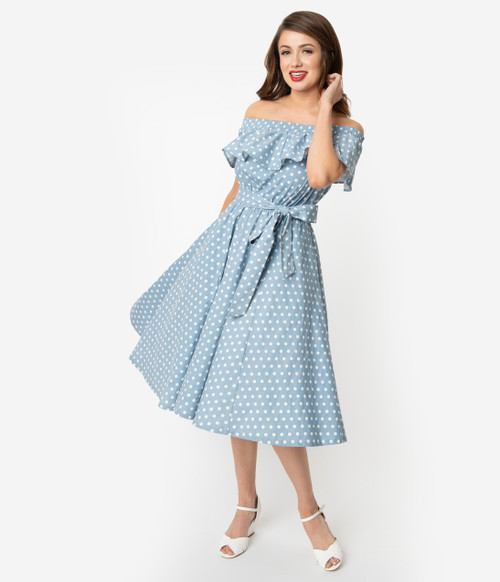 Light Blue and White Dot Unique Vintage Dress