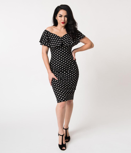 Black and White Dot Unique Vintage Dress
