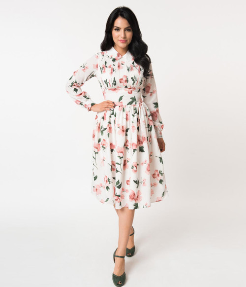 White and Pink Floral Unique Vintage Dress