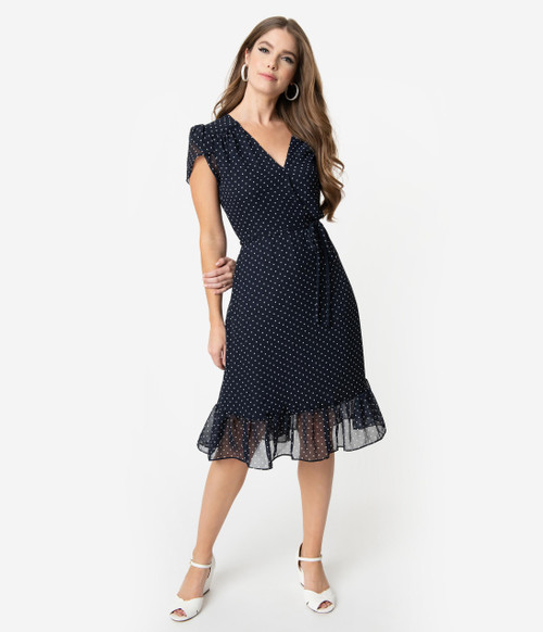 Navy and White Dot Unique Vintage Dress