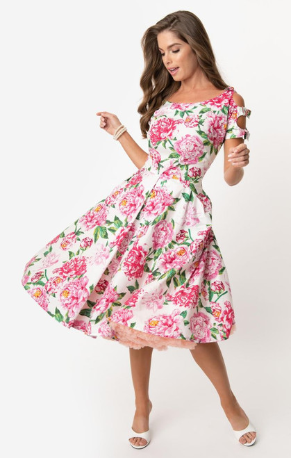 UV 1950s White & Pink Floral Selma Dress