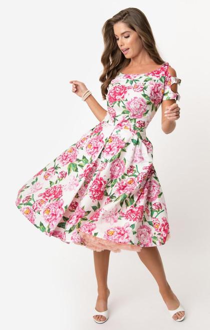UV 1950s White & Pink Floral Selma Dress