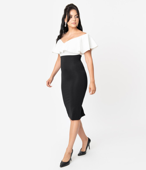 K1148KD4 UV Black & White Colorblock Wiggle Dress